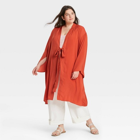 Women's Washed Satin Duster - A New Day™ - image 1 of 2