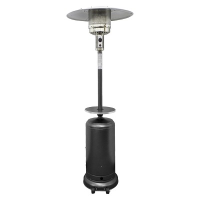 Garden Sun Tall Propane Patio Heater With Table   Hammered Silver