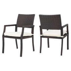 Rhode Island Set of 2 Wicker Dining Chairs - Multibrown - Christopher Knight Home