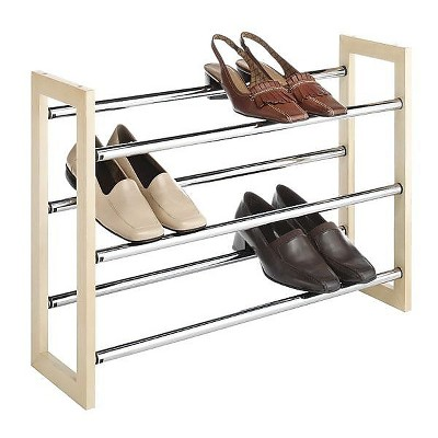 Whitmor 21 Pairs Capacity Stackable Expandable Shoe Rack  Silver 60262516