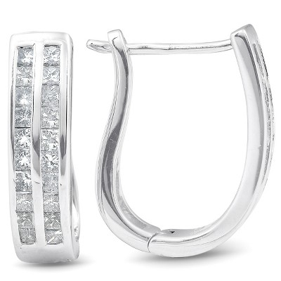 "Pompeii3 1 cttw Princess Cut Diamond Double Row Hoops 10K White Gold 3/4"" Tall"