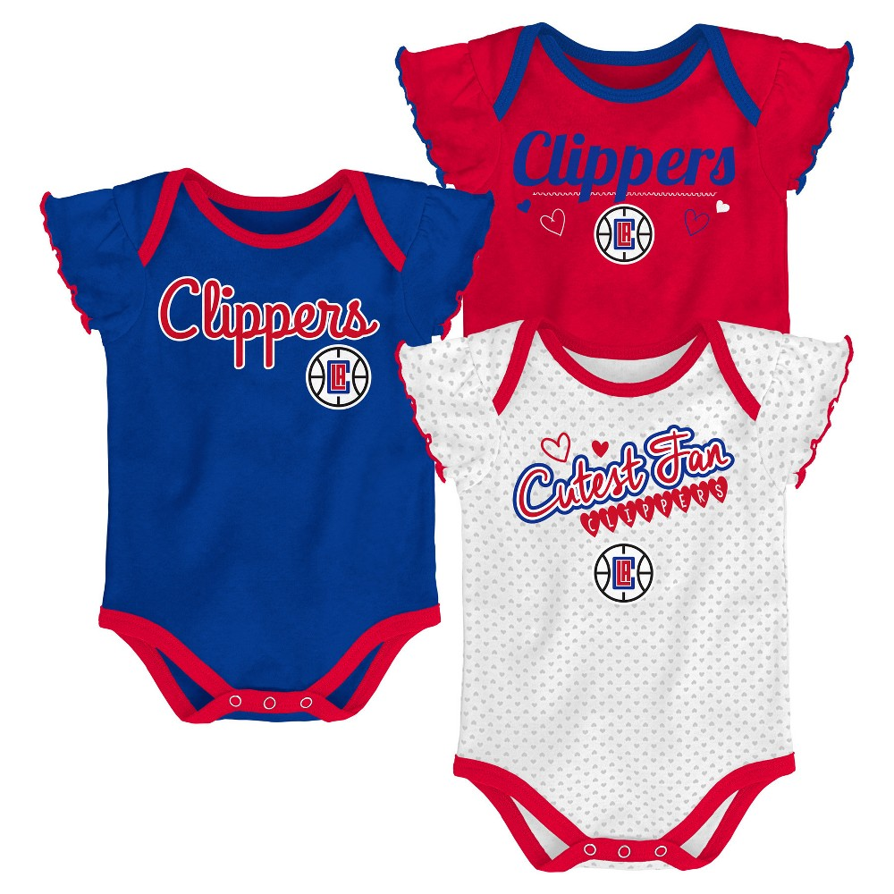 Los Angeles Clippers Girls' Draft Pick 3pk Body Suit Set 0-3M, Multicolored