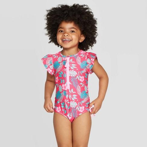Toddler Girls' Short Sleeve Hawaiian One Piece Swimsuit - Cat & Jack™ Pink - image 1 of 4