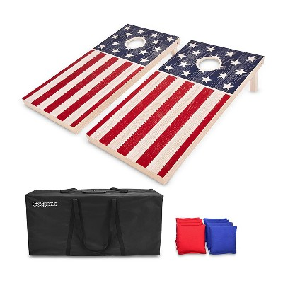 GoSports Regulation Size Bean Bag Outdoor Lawn Game Cornhole Set w/ 2 4 Foot x 2 Foot Boards, 8 Bean Bags, Carrying Case, and Game Rules, America