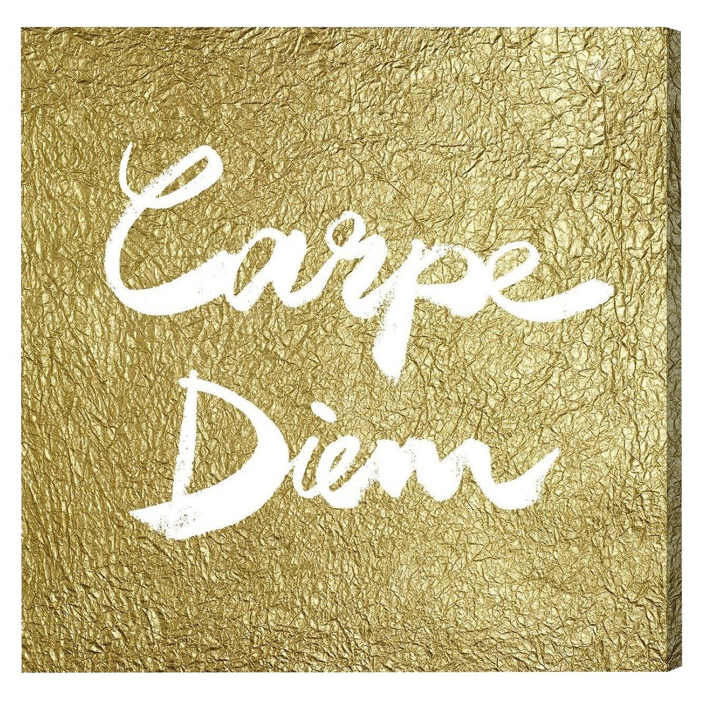 "Image of ""Oliver Gal Unframed Wall """"Carpe Diem Gold"""" Canvas Art (20x20), Gold"""