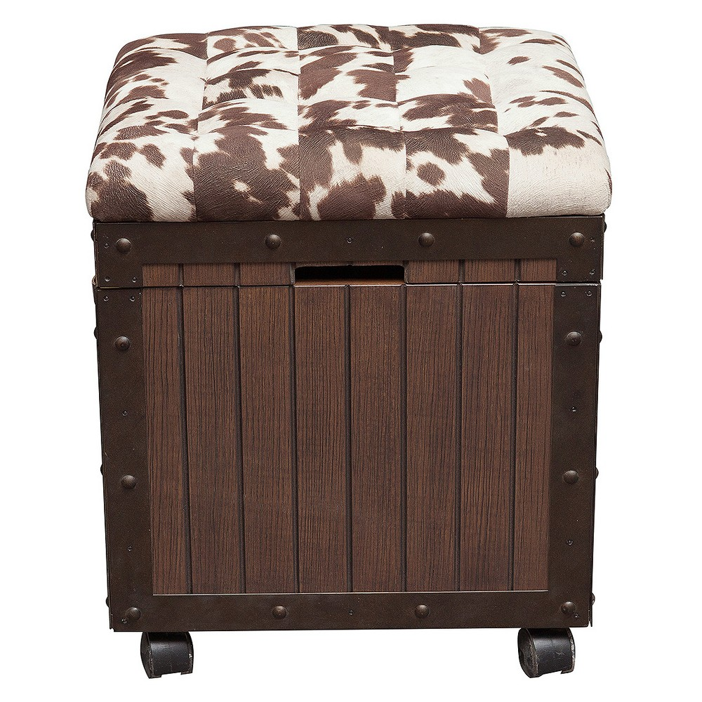 Hair - On - Hyde Cushioned Top Accent Storage Ottoman - Brown - Pulaski
