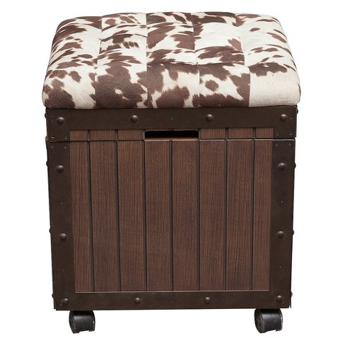 Hair - On - Hyde Cushioned Top Accent Storage Ottoman - Brown - Pulaski - image 1 of 8