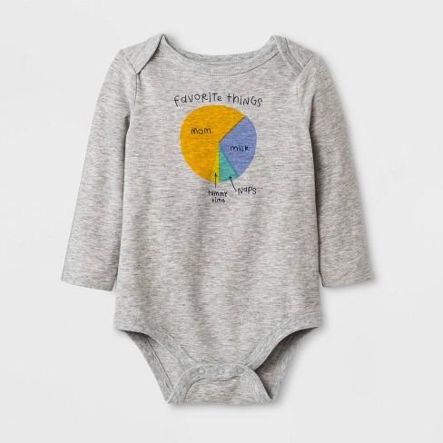 "Baby Boys' Long Sleeve ""Favorite Things"" Pie Chart Lap Shoulder Bodysuit - Cat & Jack™ Gray - image 1 of 1"