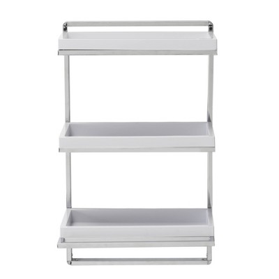 """10.5"""" x 16"""" 3 Tier Wall Shelving Unit with Towel Rack and Trays Chrome/White - Danya B."""