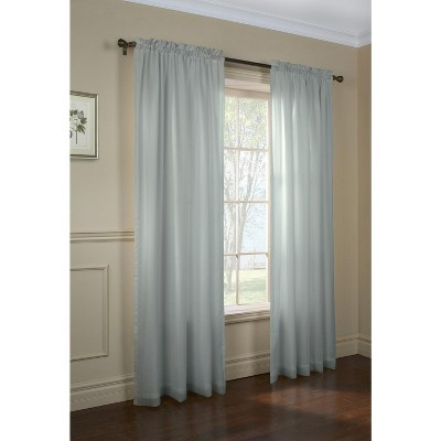 Commonwealth Home Fashions Thermavoile Rhapsody Lined Tailored Pole Top Curtain Panel in Aqua Color