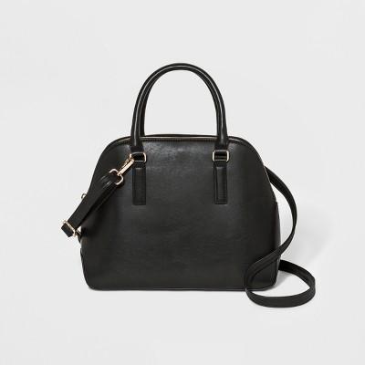 Triple Compartment Dome Satchel Handbag - A New Day™ Midnight Black