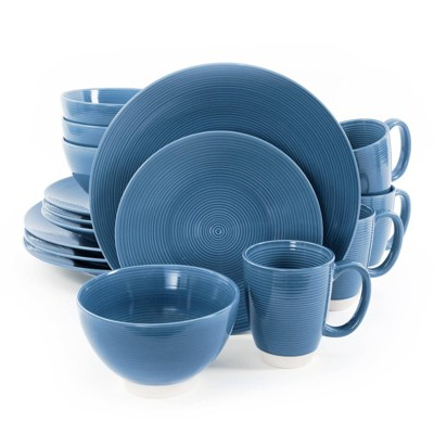 Gibson Home 16pc Stoneware Rowland Dinnerware Set Blue