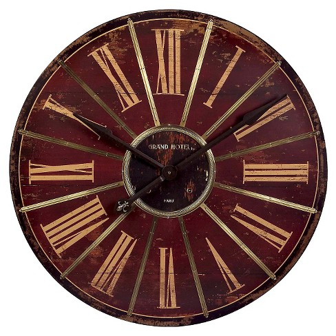 "32"" Round Wall Clock Red/Gold Patina - Aurora® - image 1 of 1"
