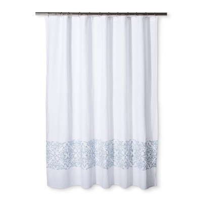 Woven Embroidery Shower Curtain Silver Blue - Fieldcrest®