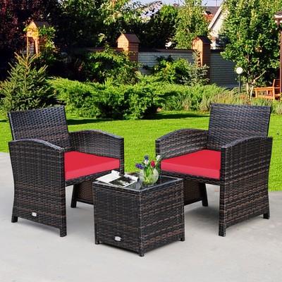 Costway 3PCS Patio Rattan Wicker Furniture Cushion Sofa Coffee Table