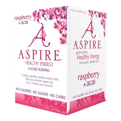 Aspire Raspberry + Acai Energy Drink - 4pk/12oz Cans