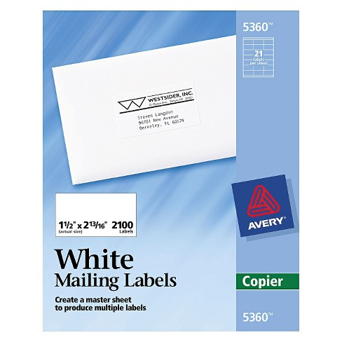 avery mailing labels 1 5 x 2 8 2100ct white target