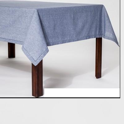 84 x60  Hemstitch Chambray Tablecloth Blue - Threshold™