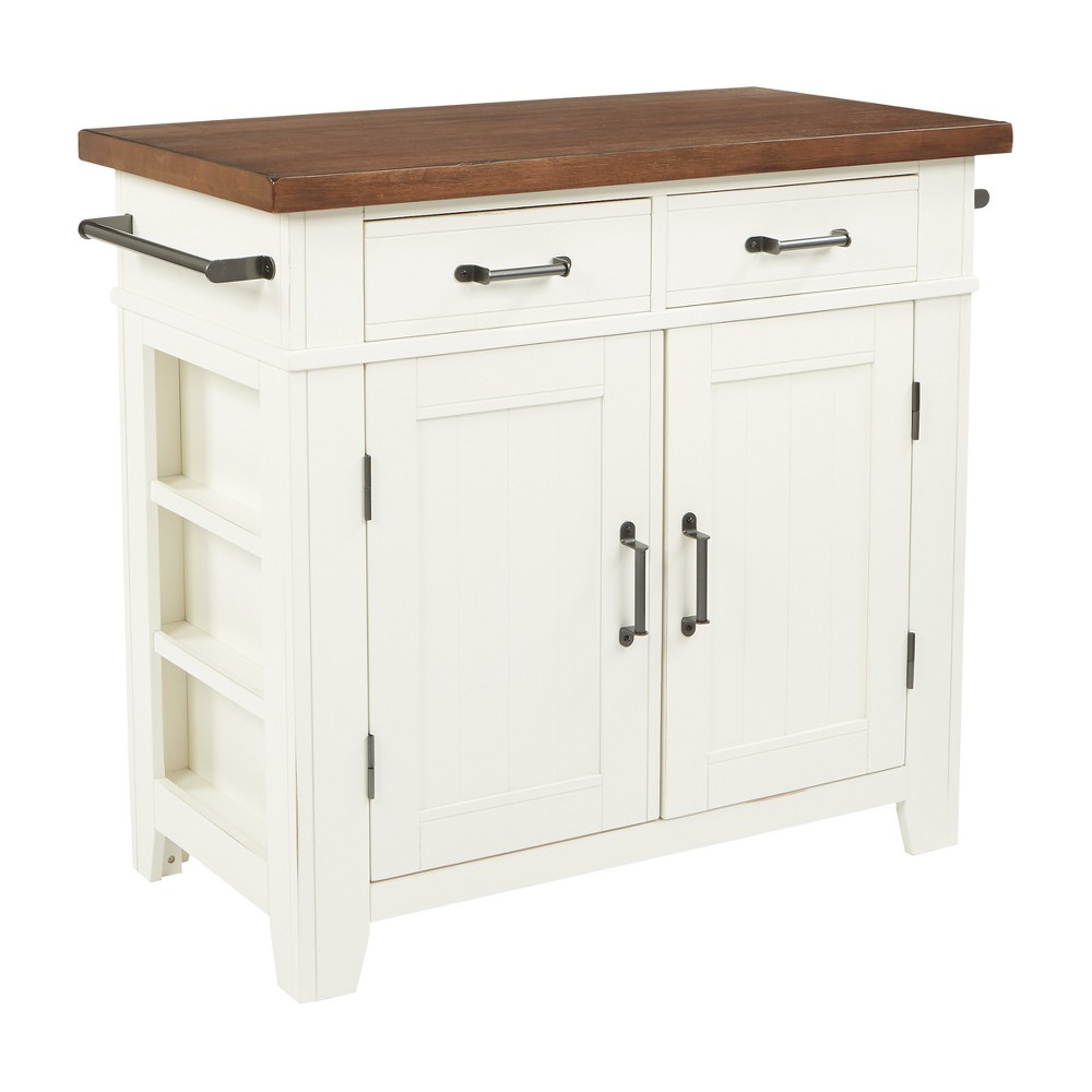 Urban Farmhouse Kitchen Island White Base With Solid Wood Vintage Oak Finished Top - Inspired by Bassett