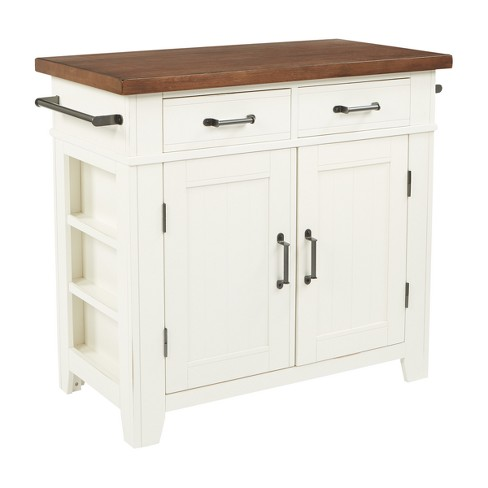 Urban Farmhouse Kitchen Island With Solid Wood Finished Top White Osp Home Furnishings