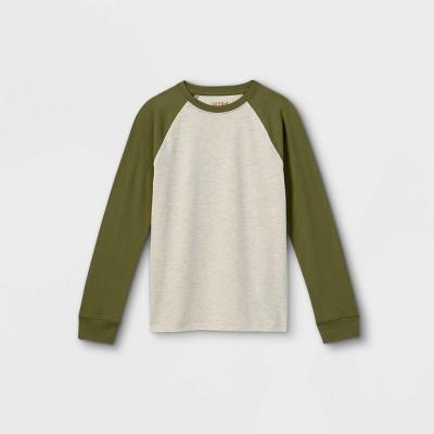 Boys' Baseball Long Sleeve T-Shirt - Cat & Jack™ Cream/Fern Green