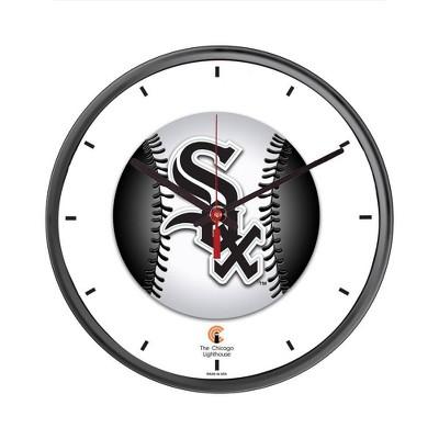 "12.75"" x 1.5"" Chicago White Sox Quartz Movement Decorative Wall Clock Black Frame - By Chicago Lighthouse"