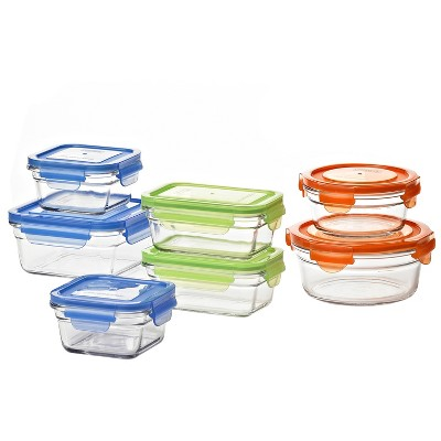 Glasslock Reusable Food Storage Container Set with Locking Lids for Leftovers and Meal Prepping, Oven & Freezer Safe, 14 Piece Set