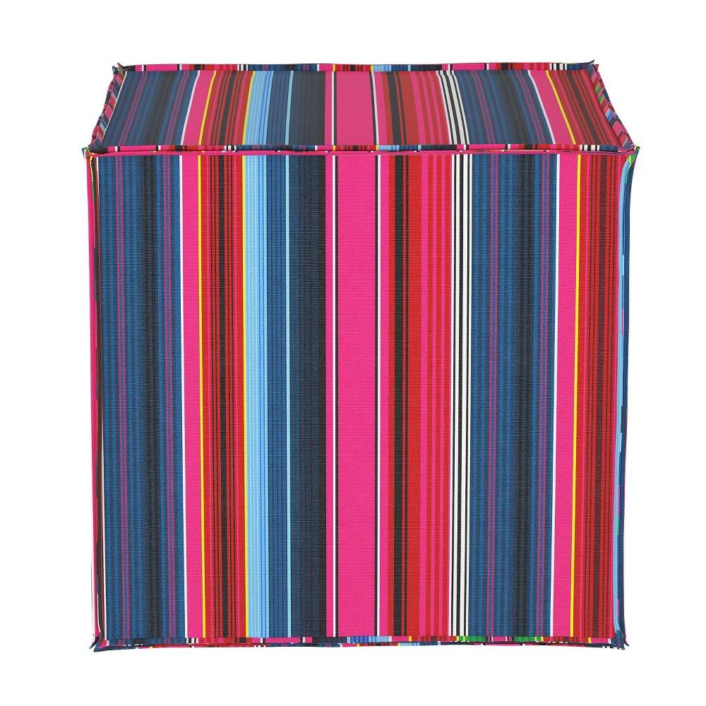 French Seam Ottoman in Serape Stripe Bright Rainbow - Cloth & Co.