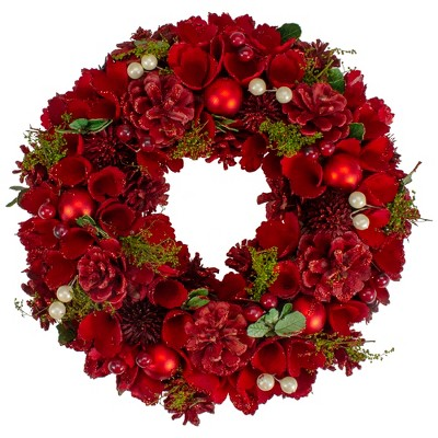 """Northlight 12"""" Red and Green Floral With Berries Christmas Wreath -Unlit"""