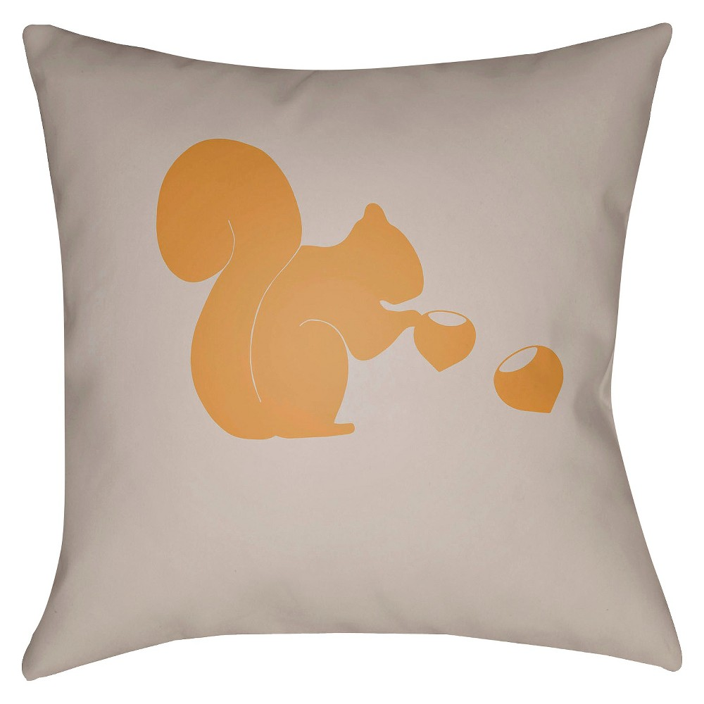 Yellow/Gray Squirell Throw Pillow 18