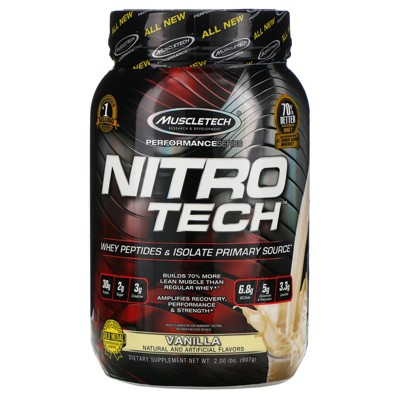 Muscletech Nitro-Tech, Whey Isolate + Lean Muscle Builder, Protein Powders