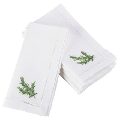 """6pk White Embroidered Rosemary Design Napkin 20"""" - Saro Lifestyle"""