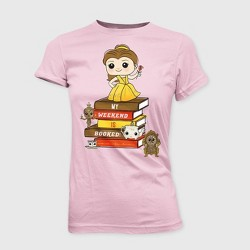 Girls' Disney Beauty and the Beast Belle 'My Weekend is Booked!' T-Shirt with Mini Funko POP - Pink