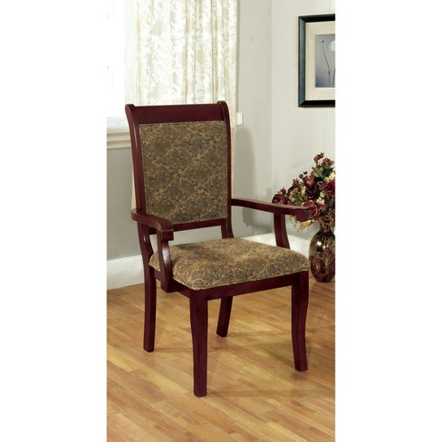 Sun & Pine Padded Fabric Wooden Frame Arm Chair Wood/Antique Cherry (Set of  2) - Sun & Pine Padded Fabric Wooden Frame Arm Chair Wood/Antique Cherry