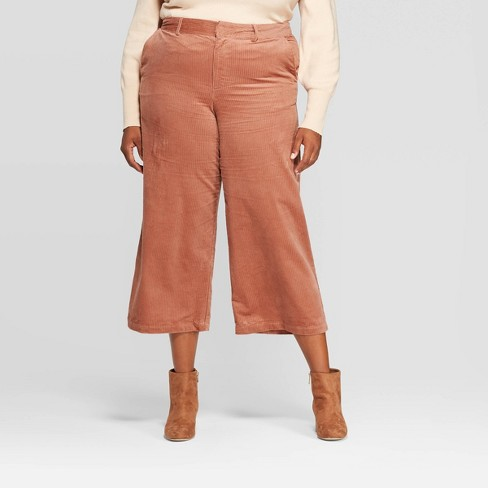 Women's Plus Size Wide Leg Cropped Corduroy Pants - A New Day™  - image 1 of 3