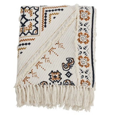 "50""x60"" Printed and Embellished Throw Blanket Ivory - Saro Lifestyle"