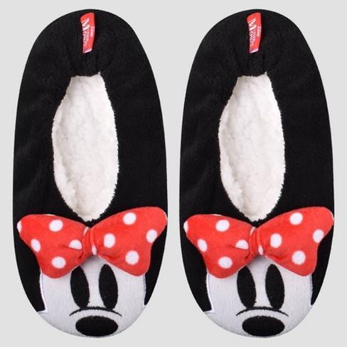 Women's Minnie Mouse Pull-On Slipper Socks - Black : Target