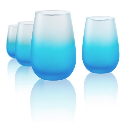 Artland 12oz 4pk Frost Shadow Stemless Wine Glasses Turquoise