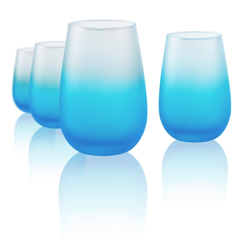 Image of Artland 12oz 4pk Frost Shadow Stemless Wine Glasses Turquoise