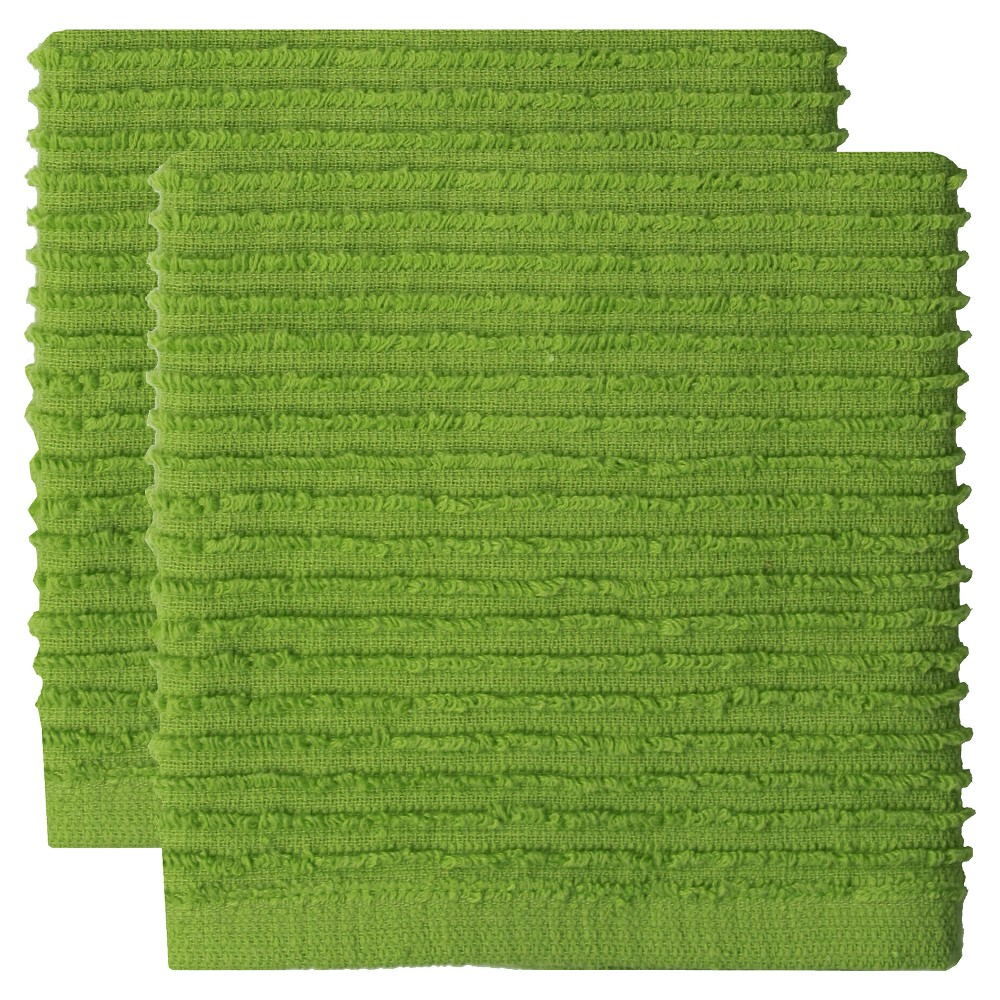"Image of ""12""""x12"""" 2pk Cotton Ridged Dish Cloth Green - MU kitchen"""