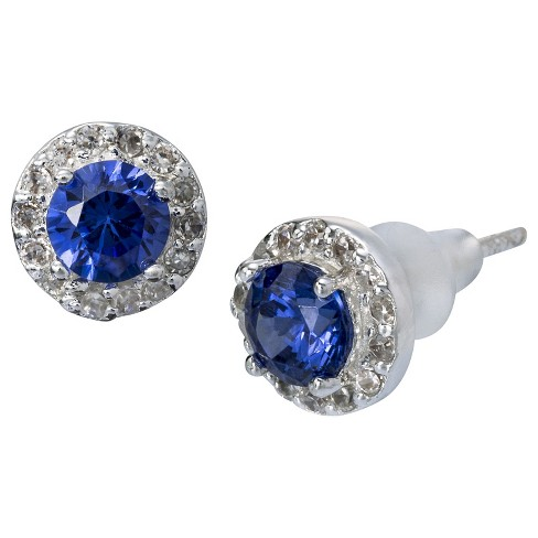 Stud Earrings Cubic Zirconia with Crystals - Purple - image 1 of 1