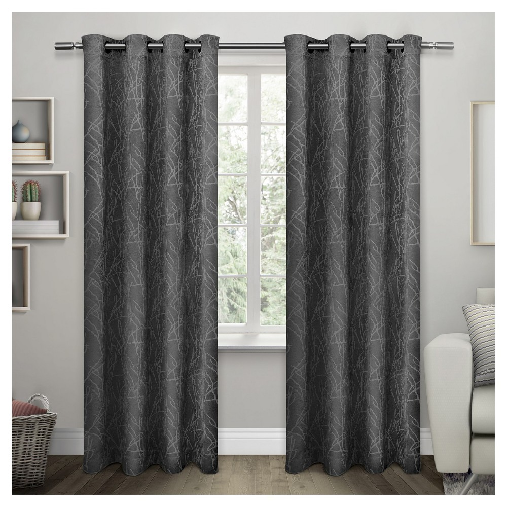 Twig Insulated Woven Blackout Grommet Top Window Curtain Panel Charcoal (Grey) (54