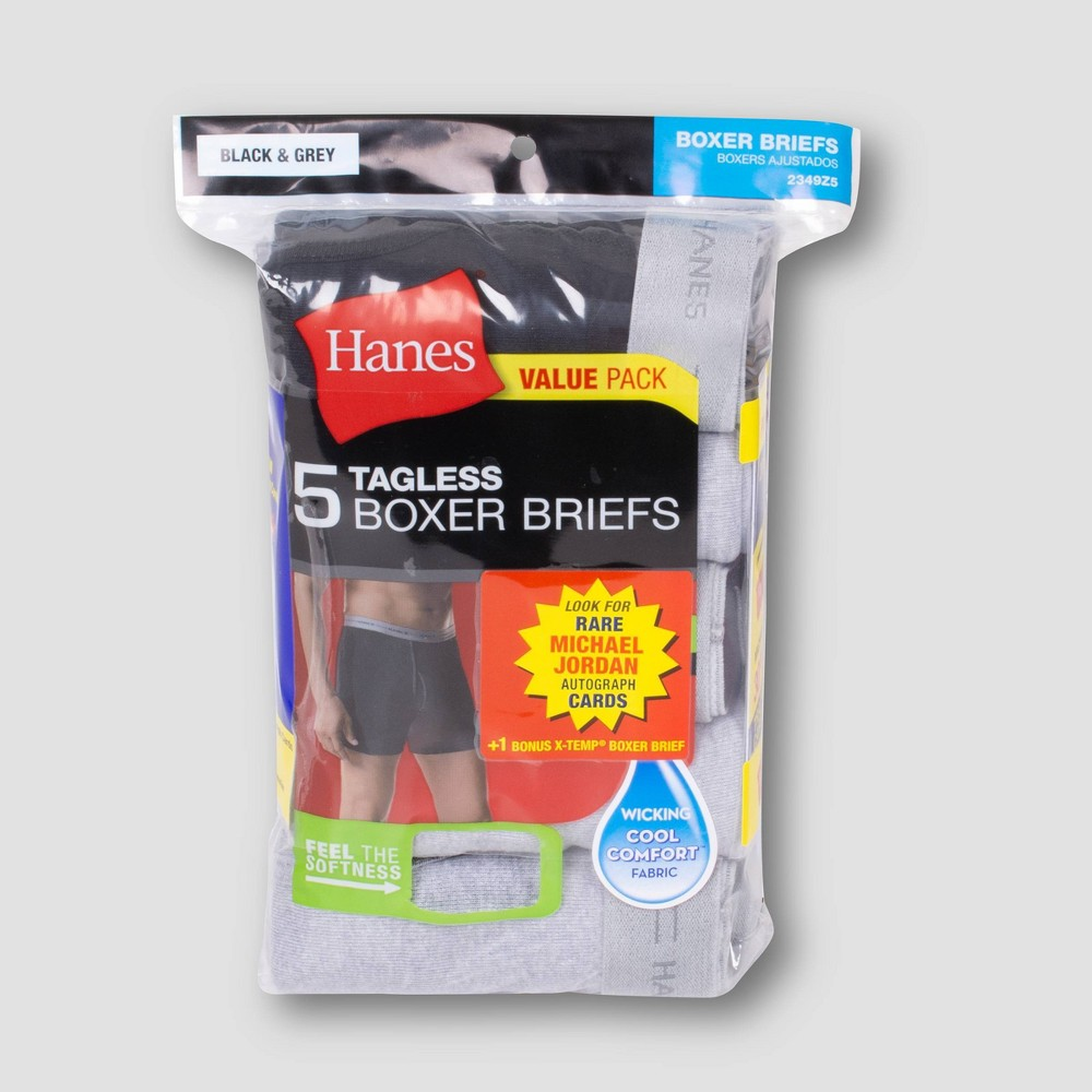 Hanes Men's 5+1 Comfort Flex Waistband Michael Jordan Collector's Edition Boxer Briefs - Black/Gray XL