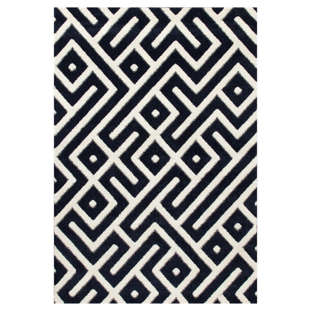 Best Discount Navy Blue Abstract Woven Area Rug 7X9 Art Carpet