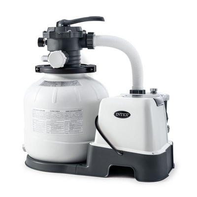 Intex 26675EG 14 Inch Krystal Clear 1500 GPH Saltwater System and Sand Filter Pump for Above Ground Pools with Automatic Timer and 6-Function Control