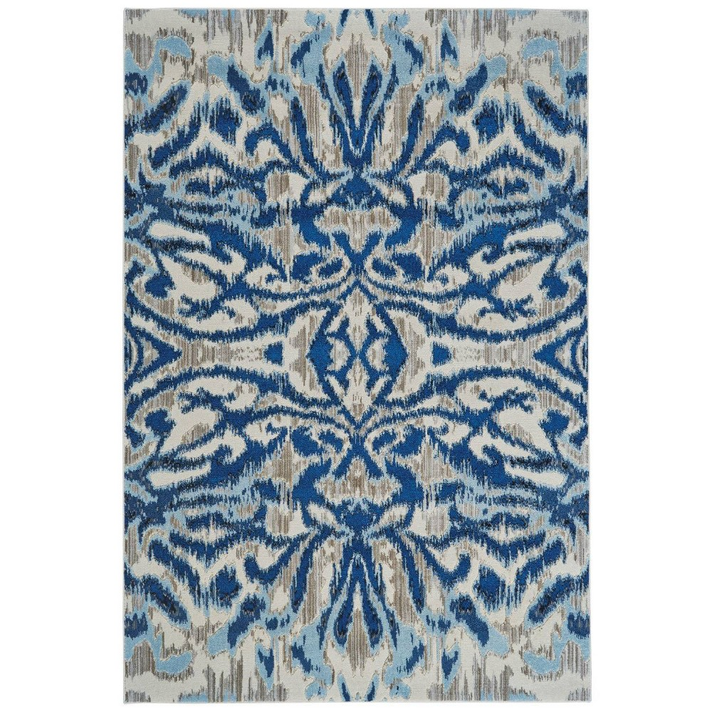 Ikat Design Loomed Accent Rugs Blue Haze