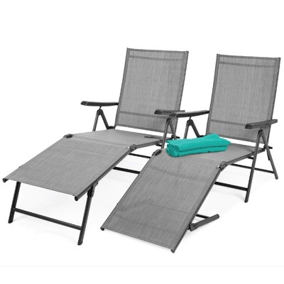Best Choice Products Set of 2 Outdoor Adjustable Folding Chaise Lounge Recliner Chairs for PatioPoolsideDeck