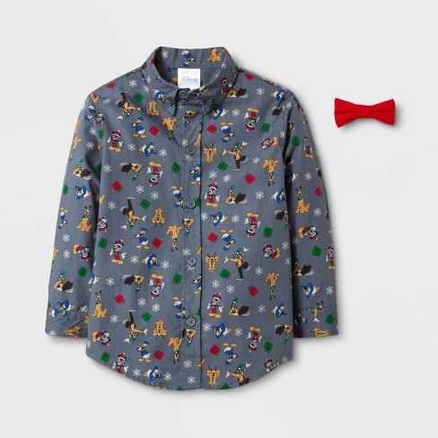 30a59b68f Toddler Boys' Disney Mickey & Friends Long Sleeve Button-Down Shirt with  Bow Tie - Rich Charcoal