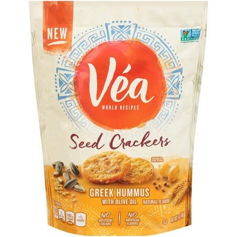 Vea Snacks Seed Crackers, Greek Hummus with Olive Oil - 5oz