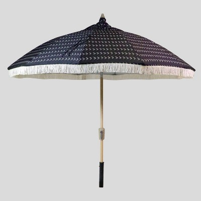 9u0027 Vee Stripe Carousel Patio Umbrella White Fringe - Light Wood Pole - Opalhouse™  Target & 9u0027 Vee Stripe Carousel Patio Umbrella White Fringe - Light Wood Pole ...